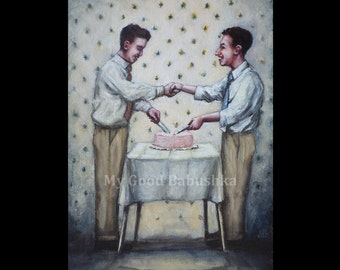 Cut the Cake, Original Painting, Kitchen, Dessert, Shake Hands, Retro, Vintage, Men, Party, Food, Pastry, Sharing Food, Friendship, Table