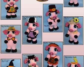 Crochet Pig Doll OUTFITS Set 4, crochet doll outfits, crochet patterns, crochet outfits