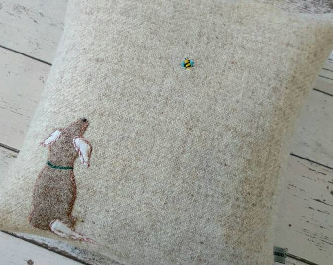 Hand Crafted Harris Tweed little dog and a bee cushion cover