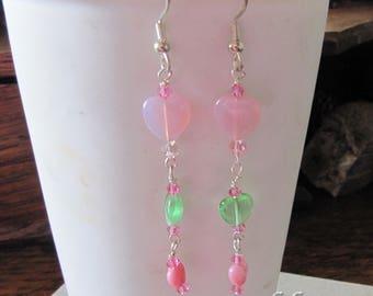 Pink Green Valentine Heart Earrings by Cornerstoregoddess
