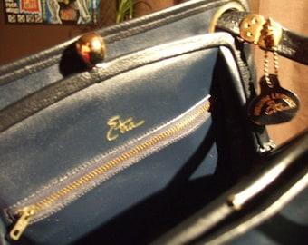 Vintage Navy Blue Etra Genuine Leather Chic Handbag...