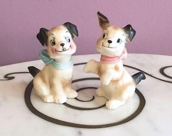 Vintage 50s Puppy Dog Salt Pepper Shaker Set made in Japan