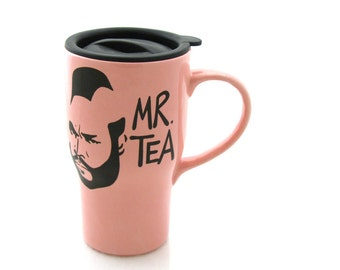 Pink Mr T Tea Ceramic Travel Mug