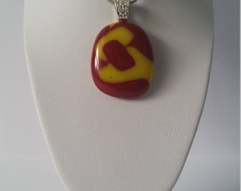 Red Glass Necklace,Fused Glass,Yellow Necklace,Pattern Design,Bright Jewelry,Silver Necklace Pendant,Red Jewellery,Funky Pendant Necklace