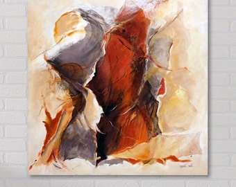 Woman Painting, Abstract Art Canvas, Modern Abstract Art , Acrylic Painting on Canvas, Red Painting Beige, Abstract Oil Painting Original