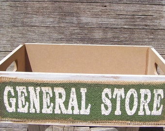 Vintage General Store Crate Box Holder Country Decor Farmhouse Store Crates Storage Bins