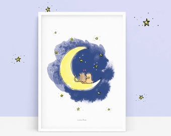 Poster - Cat on Moon - illustration - print - Reproduction - Valentine's day