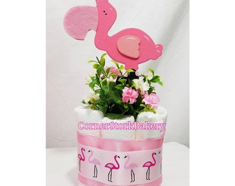 Flamingos| Flamingo Diaper Cakes| Flamingo Baby Shower| Baby Shower Centerpieces| Baby Girl Gifts| Pink Baby Girl Gifts| Diaper Cakes|