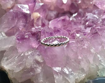 Simple Twist Band Ring Argentium Silver