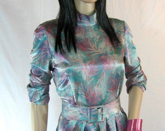 80s Handmade FLORAL SATIN DRESS with Belt