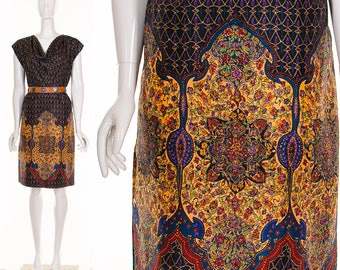 Rare 1950'S JEWEL Silk MANDALA Draped Dress Exotic Bohemian Silk Shift Dress Knee Length Dress Medium