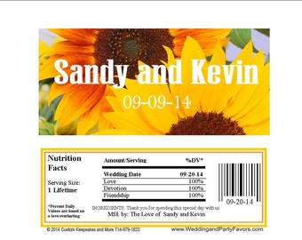 Wedding Sunflower Candy Bar Wrapper  - Personalized (set of 15)