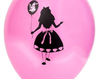Alice in Wonderland Balloon Blue OR Pink 11 inches package of 6