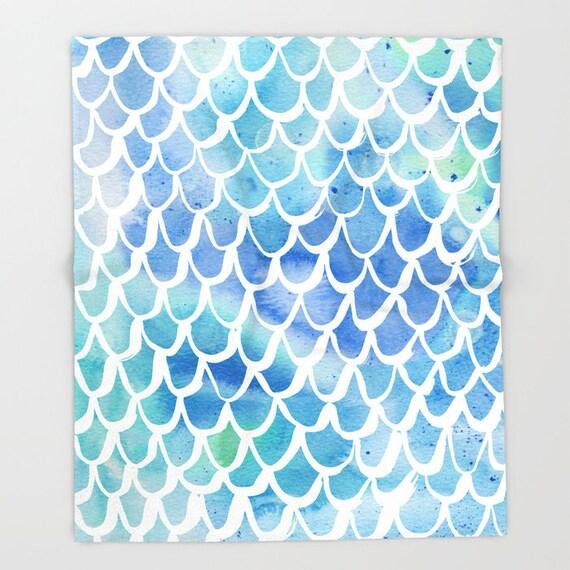 Blue Mermaid Baby Blanket . Mermaid  Baby Blanket . Blue Watercolor Baby Blanket . Fleece Baby Blanket . Mermaid Blanket . Blue Throw