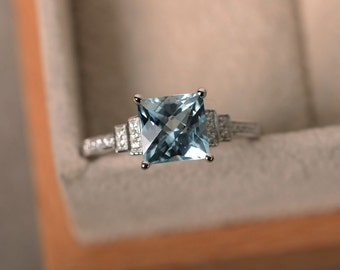 Aquamarine ring, square aquamarine, engagement ring, March birthstone, promise ring, sterling silver