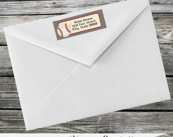 Set of 12 Personalized Printed Address Labels -Vintage Baseball -Return Address Labels -Sticker -Mailing Label -Birthday -Baby Shower