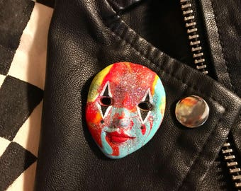Rainbow Glitter Jester Mask Pin