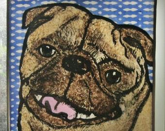 Pug Stained Glass Dog Suncatcher JRN061