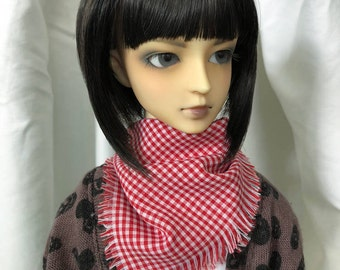 SD SD13 SD17 Square Checked BJD Scarf / Muffler in Red