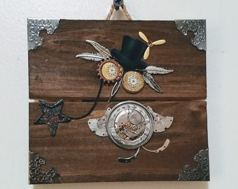 Whimsical Steampunk Owl Plaque