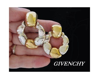 GIVENCHY Earrings * Door Knocker Style * Gold And Silver Tone * Signed