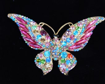 Butterfly Brooch, Wide Winged Gold Tone Pin, Multi Color Rhinestone Crystal, Colorful Jewelry, Insect Jewelry, Joan Rivers, Pink Blue