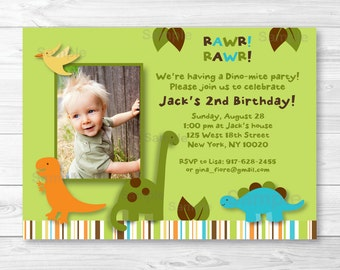 Cute Dinosaur Birthday Invitation / Dinosaur Birthday Invite / Dinosaur 1st Birthday / Dinosaur 2nd Birthday / Any Age / PRINTABLE A317