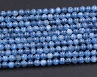 """AAA Kyanite 4mm Natural Blue Kyanite 5mm Kyanite 6mm Polished Finish Kyanite 8mm Round Beads 9mm Round 16"""" Strand"""