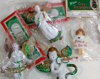 "Collection of 5 White Angels Ornaments/Craft From 2- 3.25"" High/Some With Sayings/Some With Sparkles/One Playing a Violin/ All But One New C"