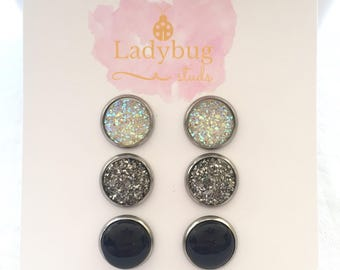 Druzy Stud Earring Set - Crystal Stud Earring Set - Druzy Stud Earrings - Trendy Earrings for Girls - Earring Gift Set - Silver Studs