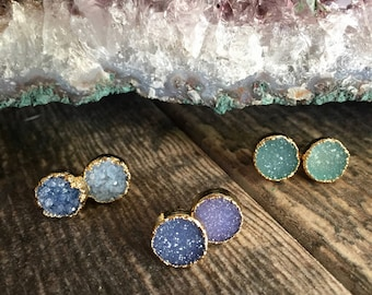 Gifts for Her,Gemstone Earrings,Womens Jewelry Gift,Gemstone Stud Earrings,Blue Gemstone Studs,Druzy Earrings, Studs,Gold Druzy Stud Earring