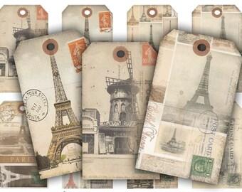 Vintage Paris Tags Digital Collage Sheet Download - 202 - Digital Paper - Instant Download Printables