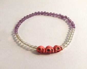 Amethyst & Pink Skull Beads Bracelet