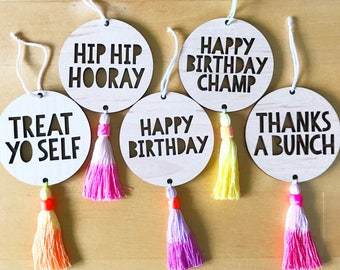 1 X Wooden hanging gift tag with handmade tassel