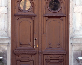Brown old doors photography print vertical modern wall decor doors and snow photo print vintage european architecture wood double doors art