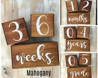 LARGE Baby Milestone Blocks, Baby Age Blocks, Baby Month Blocks, Baby Age Blocks, Baby Shower Gift, Photo Blocks, Photo Prop