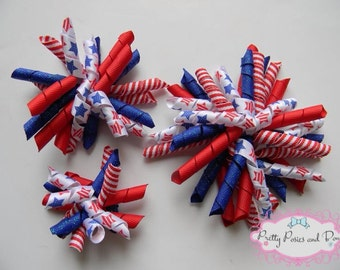 4th of July Hair Bow, Patriotic Hair Bow, 4th of July Corkscrew Bow, Glitter hair bow, Red White and Blue Hair Bow, 4th of July Bow,