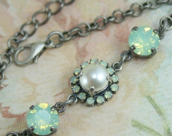 Mint opal crystal bracelet,crystal bracelet,swarovski bracelet,crystal and pearl bracelet,crystal pearl wedding jewelry,bridesmaid bracelet