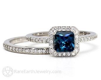 London Blue Topaz Engagement Ring Wedding Band Bridal Set 14K or 18K Gold Palladium Diamond Halo Wedding Set Blue Gemstone Ring