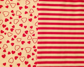 nos fabric bundle remnant in red hearts and red and white stripes--lot of 2pcs