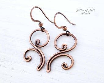 Solid Copper Wire wrapped earrings - wire wrapped jewelry handmade - Boho earthy rustic copper jewelry flourish spiral - Gifts for her
