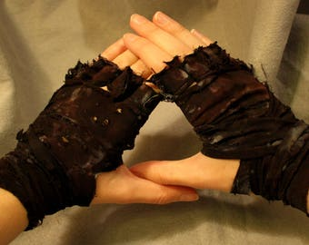 Gloves, Pair, Mad Max Inspired Post-Apocalyptic Ragged Fingerless Wrap Zombie Slayer DieselPunk costume cosplay