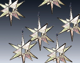 25 Stained Glass Moravian Stars - Ornaments, Suncatchers,  Save 100 Dollars  - Choose Your Colors