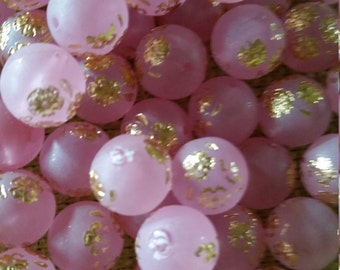 Vintage Soft Pink with Gold Floral Design Lucite Round Beads - 10mm – 12 pcs.
