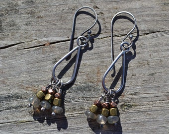 Sterling silver Mixed Metal and Labradorite Teardrop Earrings