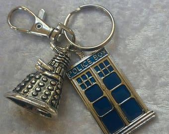 Dr Who keyring, tardis keyring, dalek keyring, whovian gift