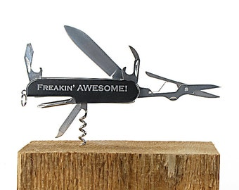 Gift for Groomsmen, Best Man Gift, Usher, Ring Bearer, Laser Engraved Black Multi Tool Multitool Pocket Knife