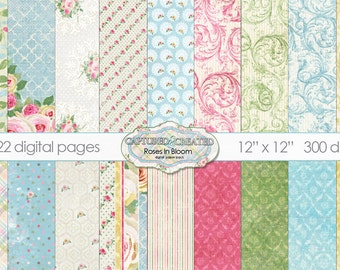 22  Roses In Bloom Digital Paper Collection** Instant Download**