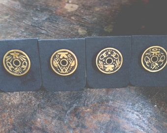 The Smith - etched brass shield pins