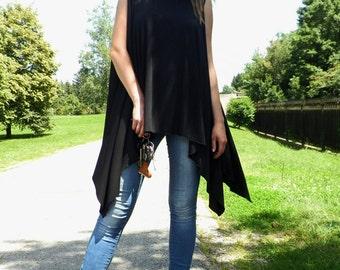 Oversized top, Asymmetric top, Loose black tunic, Csual top, Maxi black top, Plus size top, Maxi tee